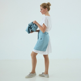 Cafe Apron Stone Blue Stone Washed Linen