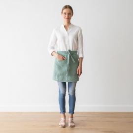 Set of 2 Stone Washed Linen Tea Towels Spa Green