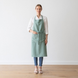 BIB Apron Spa Green  Stone Washed Linen