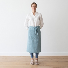 Chef's Apron Stone Blue Stone Washed Linen
