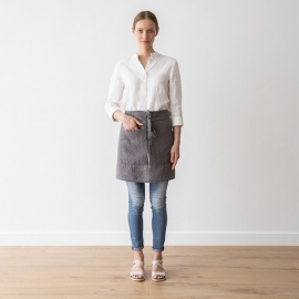 Cafe Apron Steel Grey Stone Washed Linen