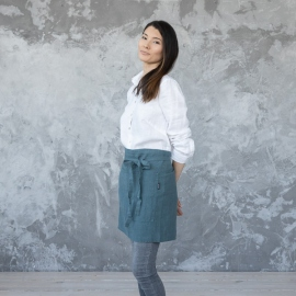 Cafe Apron Balsam Green Stone Washed Linen