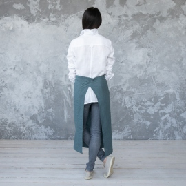 Chef's Apron Balsam Green Stone Washed Linen