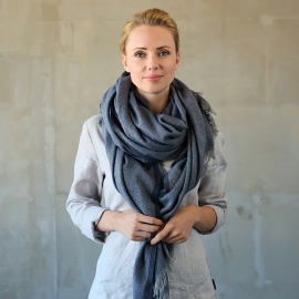 Navy Wool Shawl Salvatore