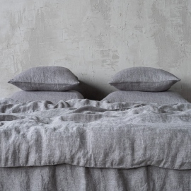 Stone Washed Herringbone Bedlinen Set Grey