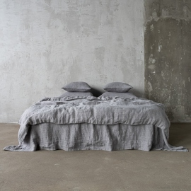 Grey Linen Bed Set Stone Washed Herringbone