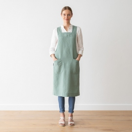 Stone Washed Linen Back Cross Apron Spa Green