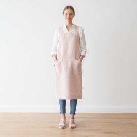 Stone Washed Linen Back Cross Apron Rosa