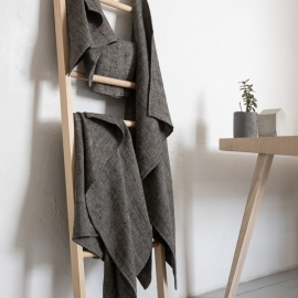 Huckaback Linen Bath Towel Set Chevron in Black