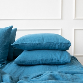 Sea Blue Stone Washed Bed Linen Pillow Case