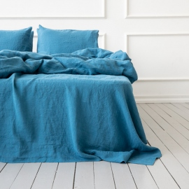 Sea Blue Linen Flat Sheet Stone Washed
