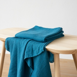 Sea blue  Linen Waffle Bath Towel Washed