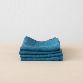 Set of 4 Sea blue Linen Wash Cloths Waffle