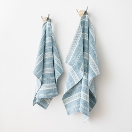 Set of 2 Hand  Towels Marine Blue Multi Striped Linen