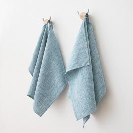 Set of 2 Marine Blue Linen Hand  Towels Francesca