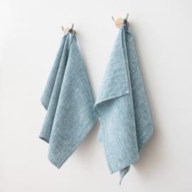 Set of 2 Marine Blue Linen Hand  Towels Francesca