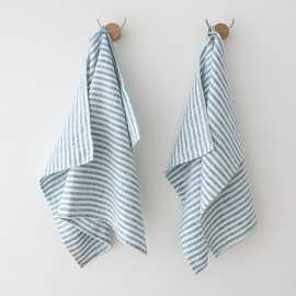 Set of 2 Marine Blue Linen Hand  Towels Brittany