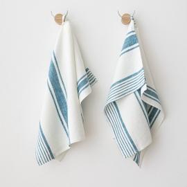 Set of 2 Marine Blue Linen Hand Towels Tuscany