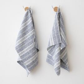 Set of 2 Indigo Hand Towels Linen Multistripe
