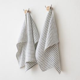 Set of 2 Indigo Linen Hand  Towels Brittany