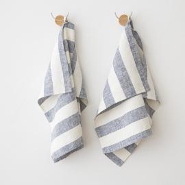 Set of 2 Marine Blue Linen Hand Towels Philippe