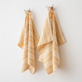 Set of 2 Gold Hand Towels Linen Multistripe