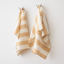 Set of 2 Linen Hand Towels Philippe Gold