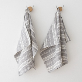 Set Of 2 Hand Towels Graphite Multistripe Linen ...