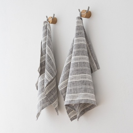 Set of 2 Hand  Towels Graphite Multistripe Linen
