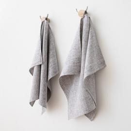 Set of 2 Graphite Linen Hand  Towels Francesca