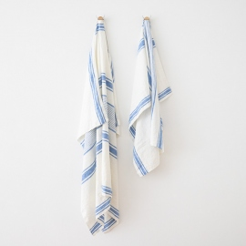 Linen Beach Towel Francesca Blue