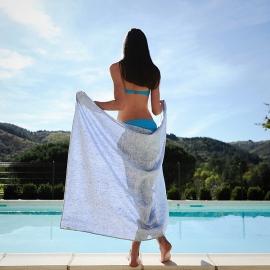 Linen Beach Towel Francesca Blue