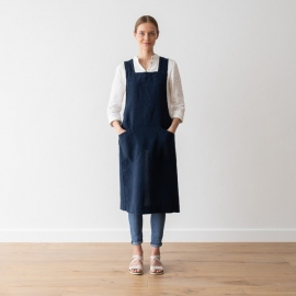 Stone Washed Linen Back Cross Apron Navy Blue