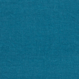 Sea Blue Linen Fabric Stone Washed