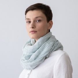 Ice Blue Linen Summer Scarf Garza