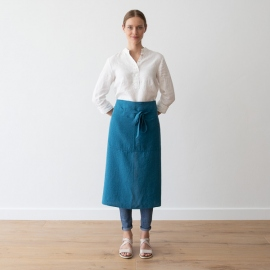 Chef's Apron Sea Blue Stone Washed Linen