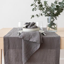 Stone Washed Linen Runner Steel Grey