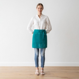 Cafe Apron Sapphire Stone Washed Linen
