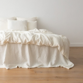 Off White Washed Bed Linen Flat Sheet Crushed