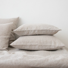 Natural Washed Bed Linen Fitted Sheet Crushed