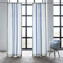 Linen Rod Pocket Curtain Panel Off White Blue Tuscany