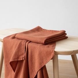 Rust Linen Waffle Bath Towel Washed