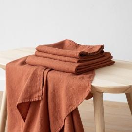 Linen Bath and Hand Towels Set Waffle Brick