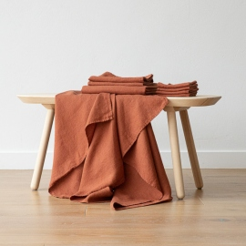 Rust Bath Towels and Hand Towels Washed Waffle