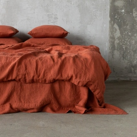 Brick Linen Flat Sheet Stone Washed