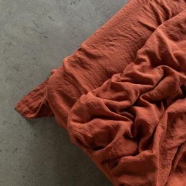 Brick Linen Flat Sheet Stone Washed