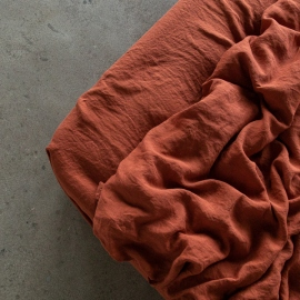 Brick Linen Fitted Sheet Stone Washed