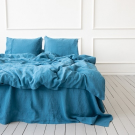 Sea Blue Linen Bed Set Stone Washed