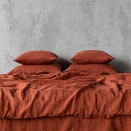 Brick Linen Bed Set Stone Washed