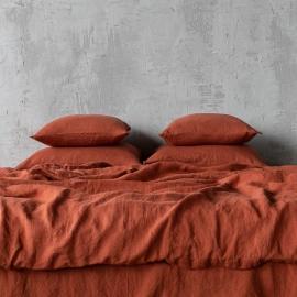 Brick Linen Bed Set Stone Washed